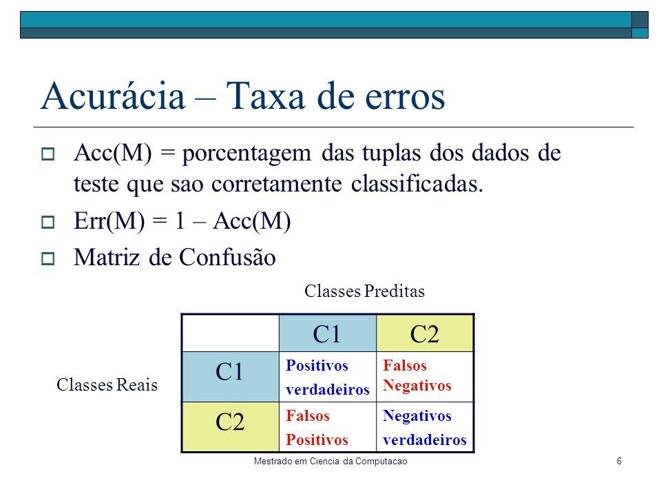 Mestrado em Ciencia da Computacao17 1a divisão possível : Aparência APARÊNCIA Sol Chuva Enc Bom Ruim Entrop(D) = 5/14 * Entrop(F1) + 4/14*Entrop(F2) + 5/14*Entrop(F3) Entrop(F1) = -3/5*log 2 (3/5) - 2/5*log 2 (2/5) = 0.971 Entrop(F2) = - 4/4*log 2 (4/4) = 0 Entrop(F3) = - 3/5*log 2 (3/5) - 2/5*log 2 (2/5) = 0.971 = 0.693