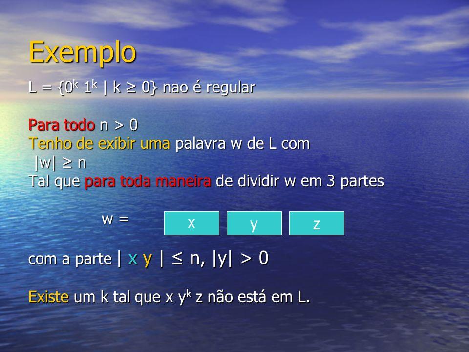 Exemplo L = {0 k 1 k | k 0} nao é regular Para todo n > 0 Tenho de exibir uma palavra w de L com |w| n |w| n Tal que para toda maneira de dividir w em