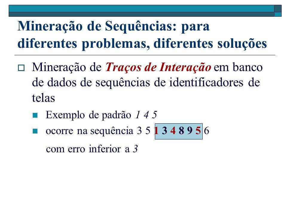 Mineração de Sequências: para diferentes problemas, diferentes soluções Mineração de Traços de Interação em banco de dados de sequências de identifica