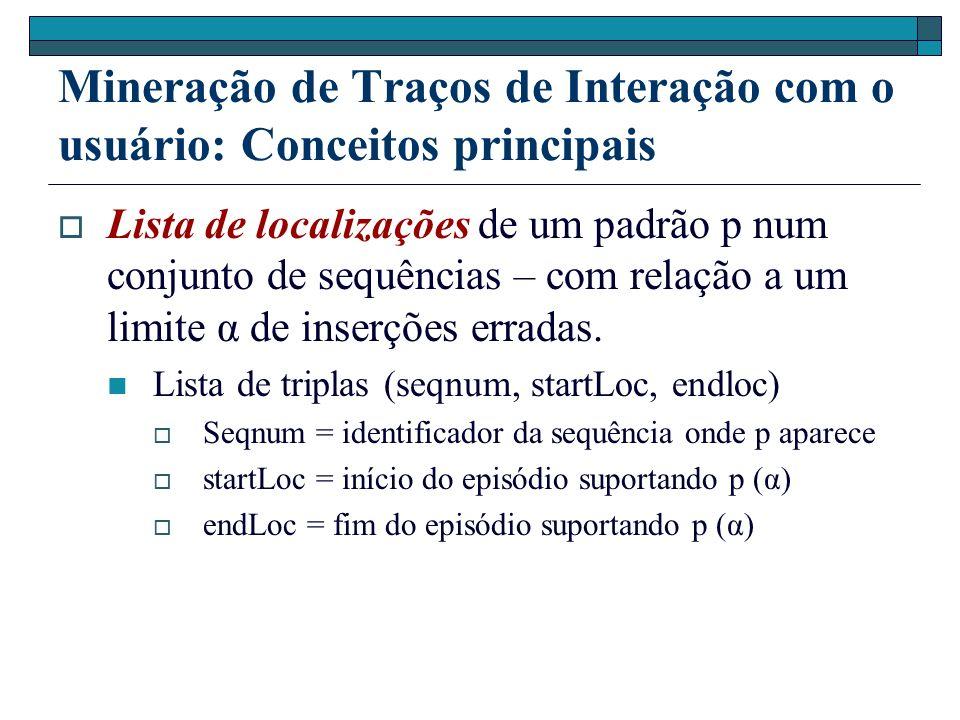 Mineração de Traços de Interação com o usuário: Conceitos principais Lista de localizações de um padrão p num conjunto de sequências – com relação a u