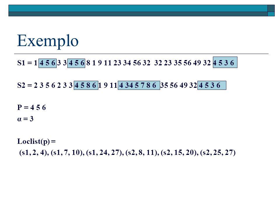 Exemplo S1 = 1 4 5 6 3 3 4 5 6 8 1 9 11 23 34 56 32 32 23 35 56 49 32 4 5 3 6 S2 = 2 3 5 6 2 3 3 4 5 8 6 1 9 11 4 34 5 7 8 6 35 56 49 32 4 5 3 6 P = 4