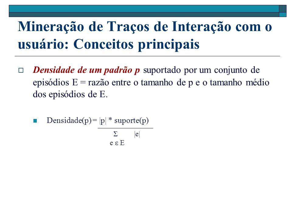 Mineração de Traços de Interação com o usuário: Conceitos principais Densidade de um padrão p suportado por um conjunto de episódios E = razão entre o