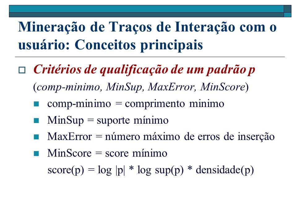 Mineração de Traços de Interação com o usuário: Conceitos principais Critérios de qualificação de um padrão p (comp-minimo, MinSup, MaxError, MinScore