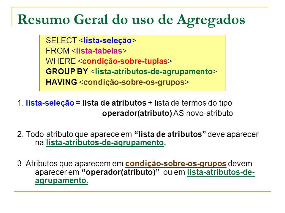 Resumo Geral do uso de Agregados SELECT FROM WHERE GROUP BY HAVING 1. lista-seleção = lista de atributos + lista de termos do tipo operador(atributo)