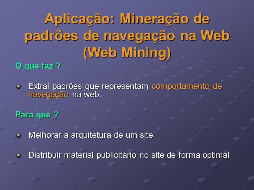 Aplicação: Mineração de padrões de navegação na Web (Web Mining) O que faz ? Extrai padrões que representam comportamento de navegação na web. Para qu