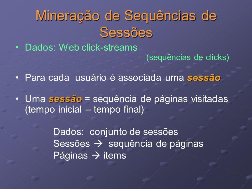 Mineração de Sequências de Sessões Dados: Web click-streams (sequências de clicks) sessãoPara cada usuário é associada uma sessão sessãoUma sessão = s