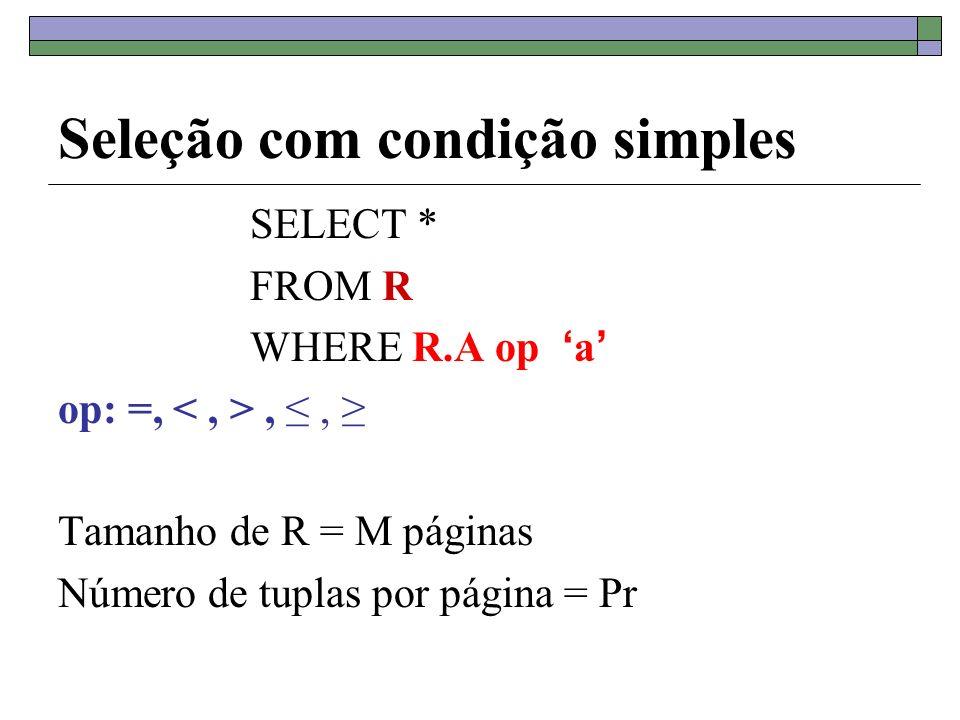 Seleção com condição simples SELECT * FROM R WHERE R.A op a op: =,,, Tamanho de R = M páginas Número de tuplas por página = Pr