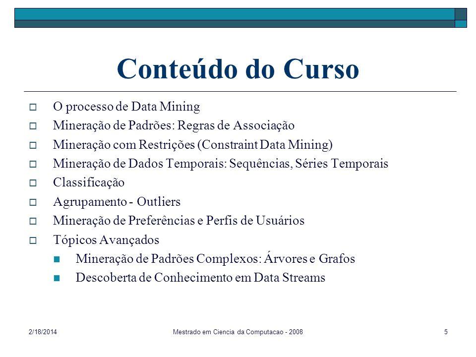 2/18/2014Mestrado em Ciencia da Computacao - 20085 Conteúdo do Curso O processo de Data Mining Mineração de Padrões: Regras de Associação Mineração co