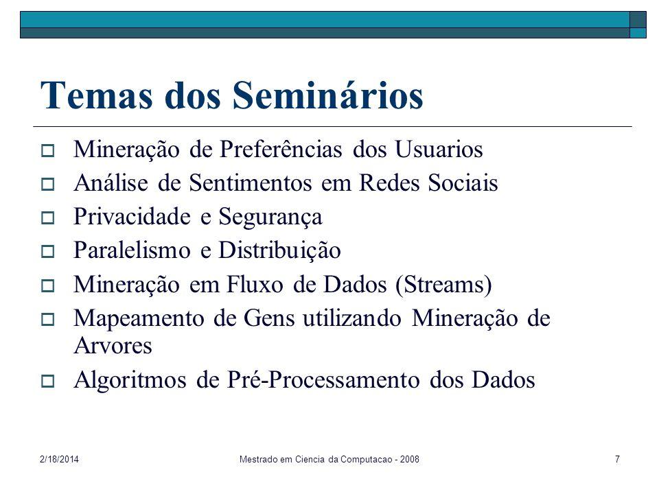 2/18/2014Mestrado em Ciencia da Computacao - 20087 Temas dos Seminários Mineração de Preferências dos Usuarios Análise de Sentimentos em Redes Sociais