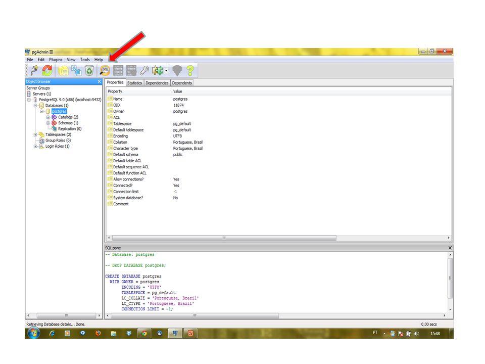 Entre os comandos SQL no primeiro retângulo à esquerda.