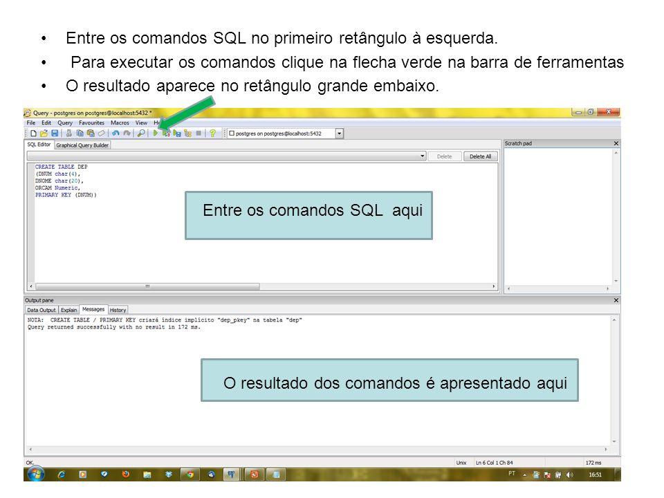 Entre os comandos SQL no primeiro retângulo à esquerda. Para executar os comandos clique na flecha verde na barra de ferramentas O resultado aparece n