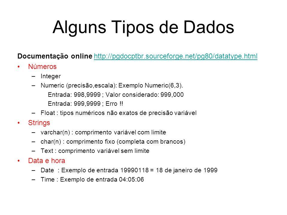 Alguns Tipos de Dados Documentação online http://pgdocptbr.sourceforge.net/pg80/datatype.htmlhttp://pgdocptbr.sourceforge.net/pg80/datatype.html Númer