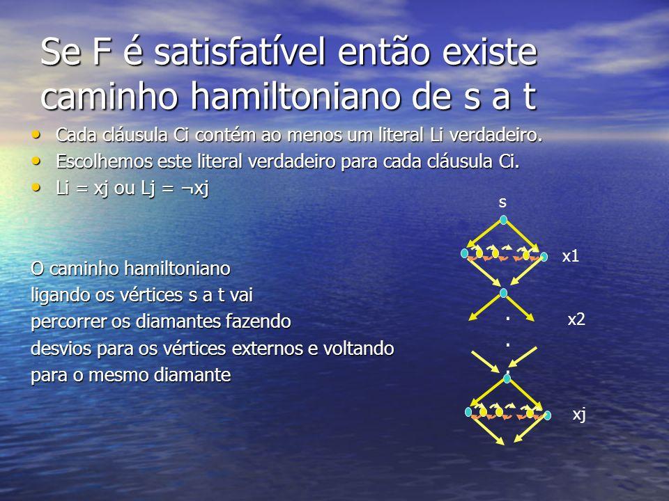 Se F é satisfatível então existe caminho hamiltoniano de s a t Cada cláusula Ci contém ao menos um literal Li verdadeiro. Cada cláusula Ci contém ao m