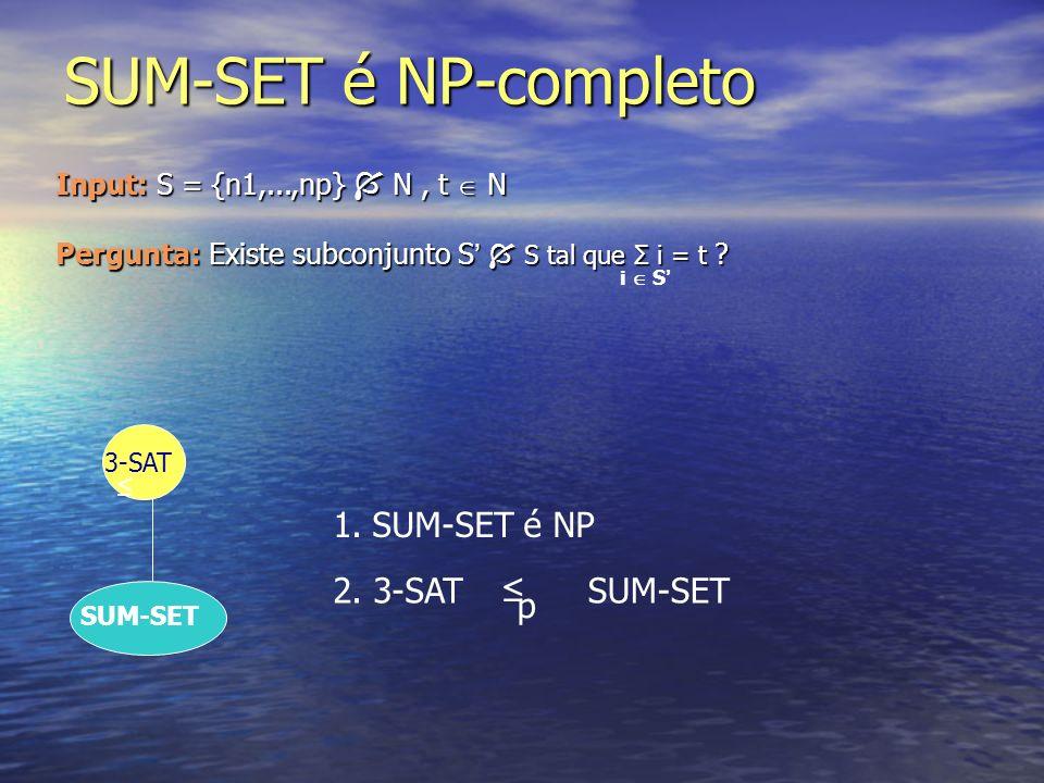 SUM-SET é NP-completo 3-SAT SUM-SET 1.SUM-SET é NP 2. 3-SAT p SUM-SET Input: S = {n1,...,np} N, t N Pergunta: Existe subconjunto S S tal que Σ i = t ?