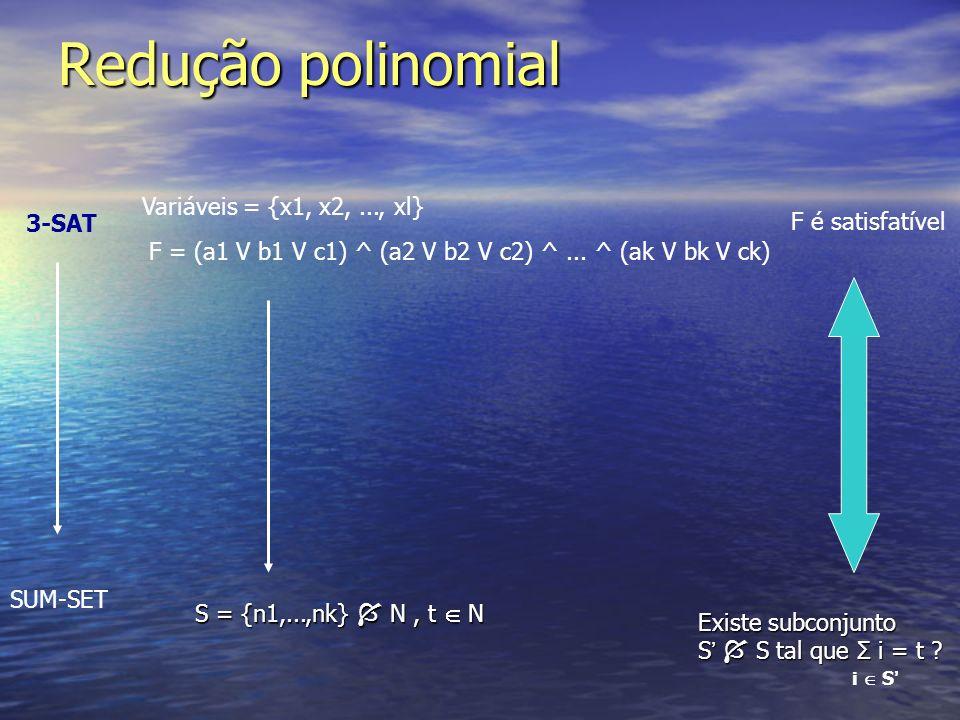Redução polinomial 3-SAT SUM-SET F = (a1 V b1 V c1) ^ (a2 V b2 V c2) ^... ^ (ak V bk V ck) Variáveis = {x1, x2,..., xl} S = {n1,...,nk} N, t N F é sat