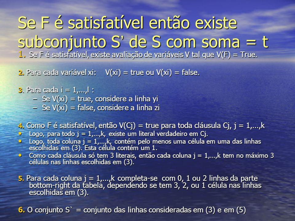 Se F é satisfatível então existe subconjunto S de S com soma = t 1. Se F é satisfatível, existe avaliação de variáveis V tal que V(F) = True. 2. Para