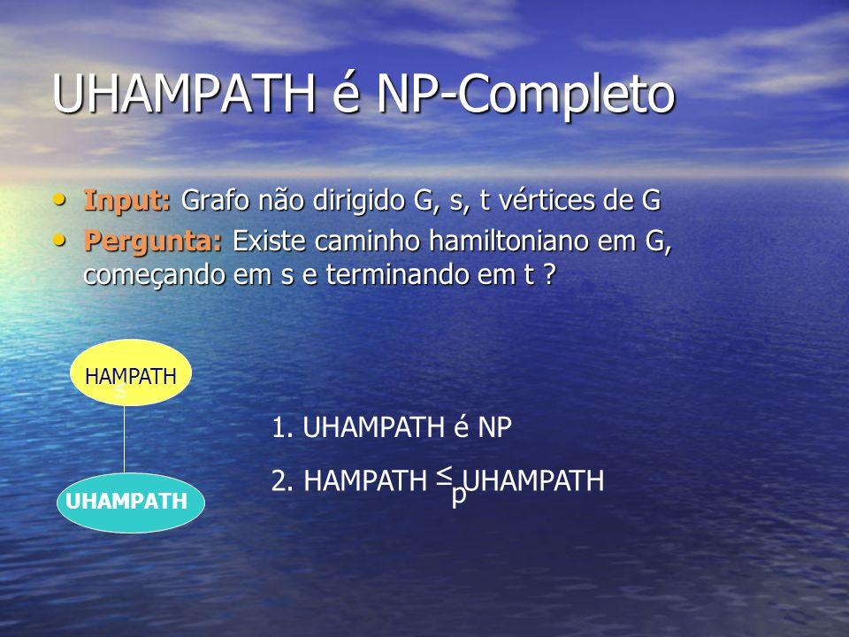 UHAMPATH é NP-Completo Input: Grafo não dirigido G, s, t vértices de G Input: Grafo não dirigido G, s, t vértices de G Pergunta: Existe caminho hamilt