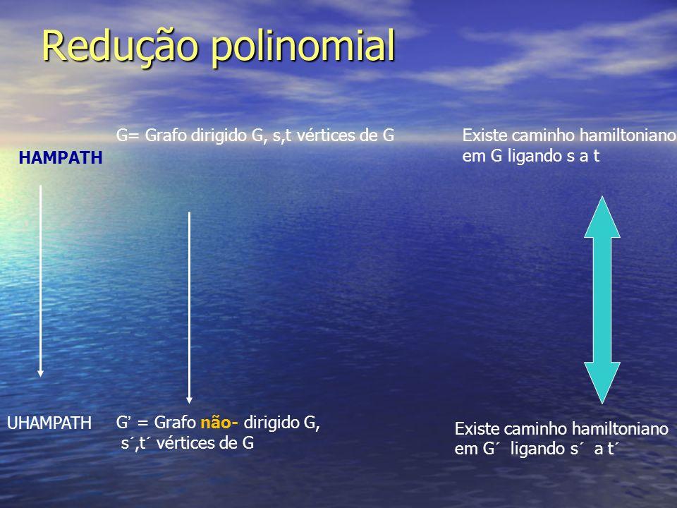 Redução polinomial HAMPATH UHAMPATH G= Grafo dirigido G, s,t vértices de GExiste caminho hamiltoniano em G ligando s a t Existe caminho hamiltoniano e