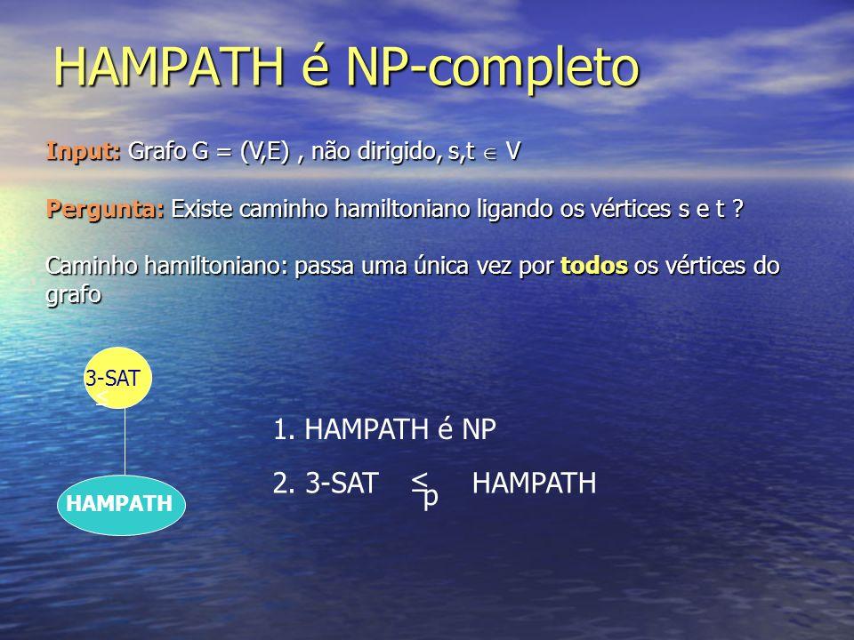 HAMPATH é NP-completo 3-SAT HAMPATH 1.HAMPATH é NP 2. 3-SAT p HAMPATH Input: Grafo G = (V,E), não dirigido, s,t V Pergunta: Existe caminho hamiltonian