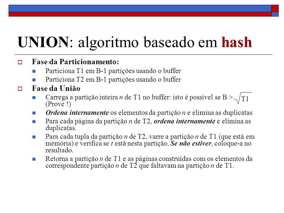UNION: algoritmo baseado em hash Fase da Particionamento: Particiona T1 em B-1 partições usando o buffer Particiona T2 em B-1 partições usando o buffer Fase da União Carrega a partição inteira n de T1 no buffer: isto é possível se B > (Prove !) Ordena internamente os elementos da partição n e elimina as duplicatas Para cada página da partição n de T2, ordena internamente e elimina as duplicatas.
