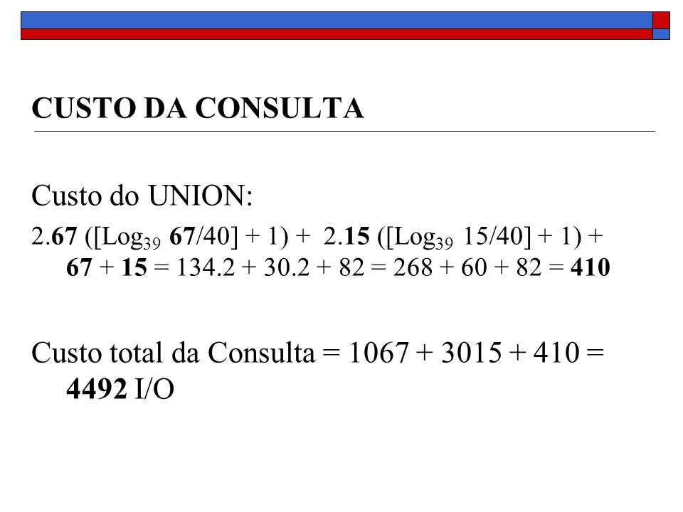 CUSTO DA CONSULTA Custo do UNION: 2.67 ([Log 39 67/40] + 1) + 2.15 ([Log 39 15/40] + 1) + 67 + 15 = 134.2 + 30.2 + 82 = 268 + 60 + 82 = 410 Custo total da Consulta = 1067 + 3015 + 410 = 4492 I/O