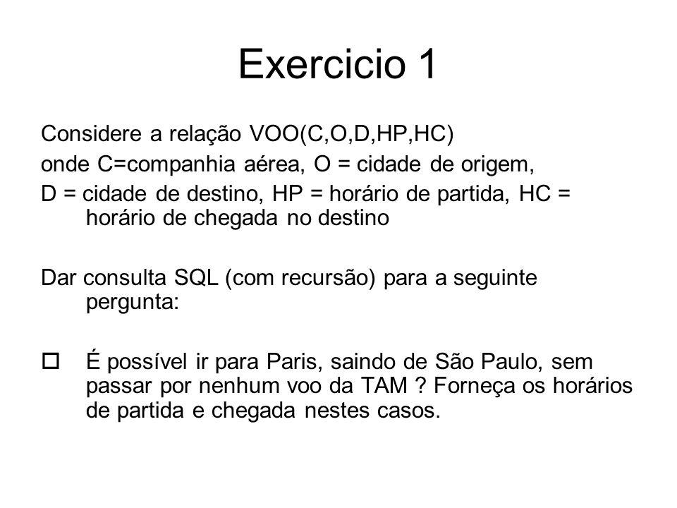 Exercicio 1 Considere a relação VOO(C,O,D,HP,HC) onde C=companhia aérea, O = cidade de origem, D = cidade de destino, HP = horário de partida, HC = ho
