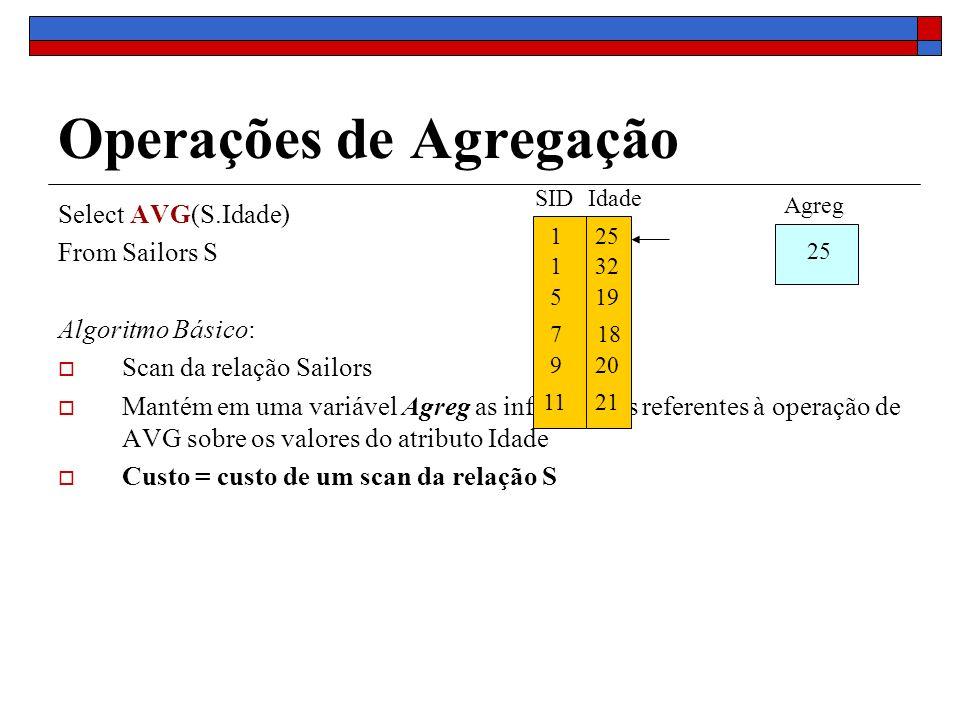 Operações de Agregação Select AVG(S.Idade) From Sailors S Algoritmo Básico: Scan da relação Sailors Mantém em uma variável Agreg as informações refere