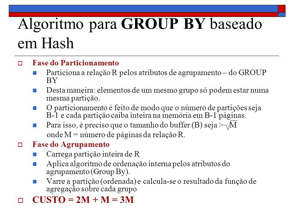 Algoritmo para GROUP BY baseado em Hash Fase do Particionamento Particiona a relação R pelos atributos de agrupamento – do GROUP BY Desta maneira: ele