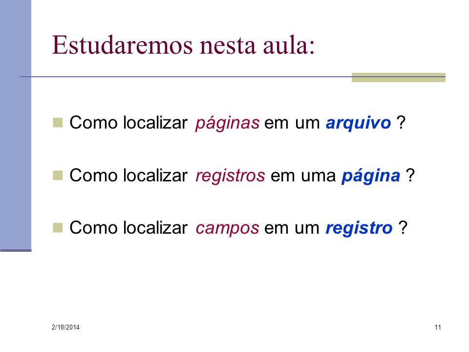 2/18/2014 11 Estudaremos nesta aula: Como localizar páginas em um arquivo ? Como localizar registros em uma página ? Como localizar campos em um regis
