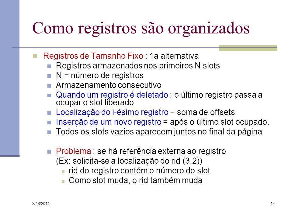 2/18/2014 13 Como registros são organizados Registros de Tamanho Fixo : 1a alternativa Registros armazenados nos primeiros N slots N = número de regis