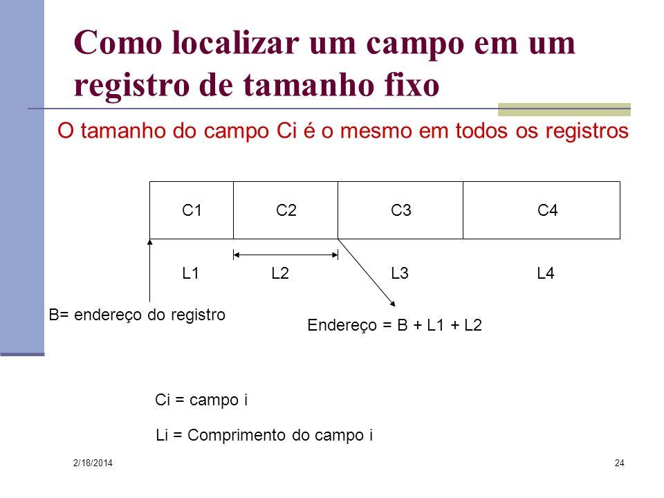 2/18/2014 24 Como localizar um campo em um registro de tamanho fixo C1C4C3C2 L2L3L4L1 B= endereço do registro Endereço = B + L1 + L2 Ci = campo i Li =