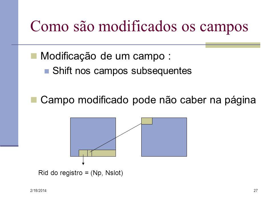 2/18/2014 27 Como são modificados os campos Modificação de um campo : Shift nos campos subsequentes Campo modificado pode não caber na página Rid do r