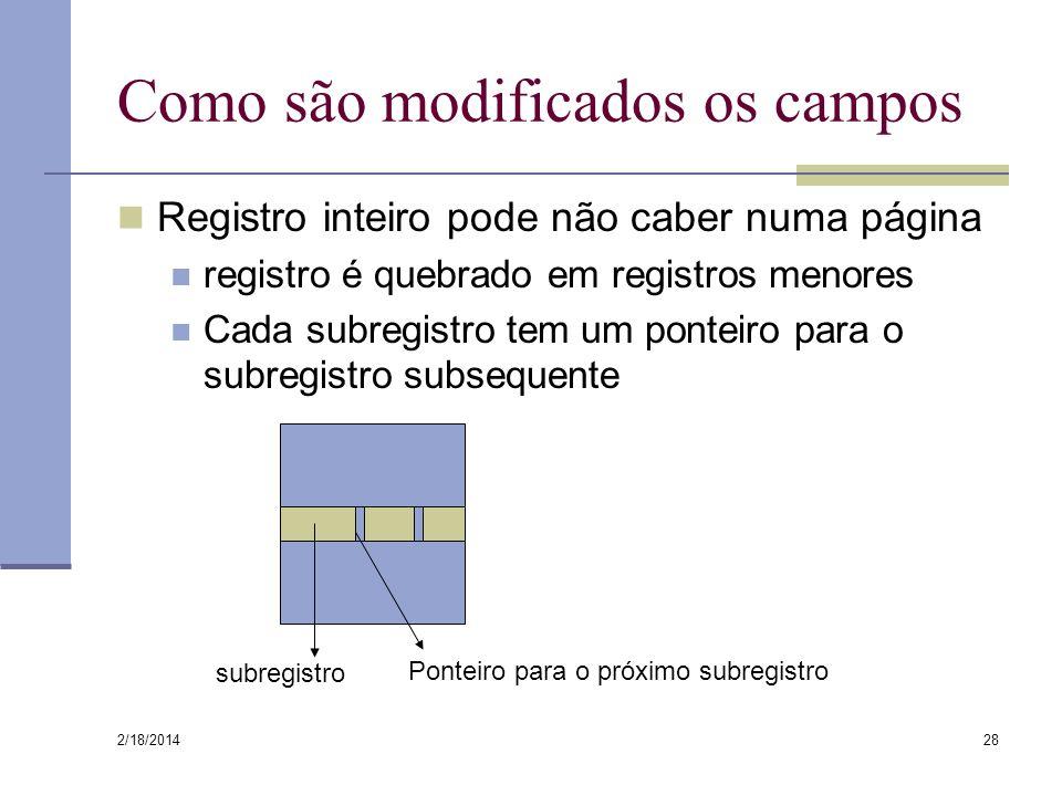 2/18/2014 28 Como são modificados os campos Registro inteiro pode não caber numa página registro é quebrado em registros menores Cada subregistro tem