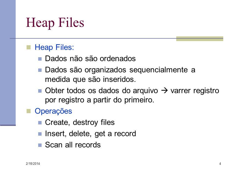 2/18/2014 4 Heap Files Heap Files: Dados não são ordenados Dados são organizados sequencialmente a medida que são inseridos. Obter todos os dados do a