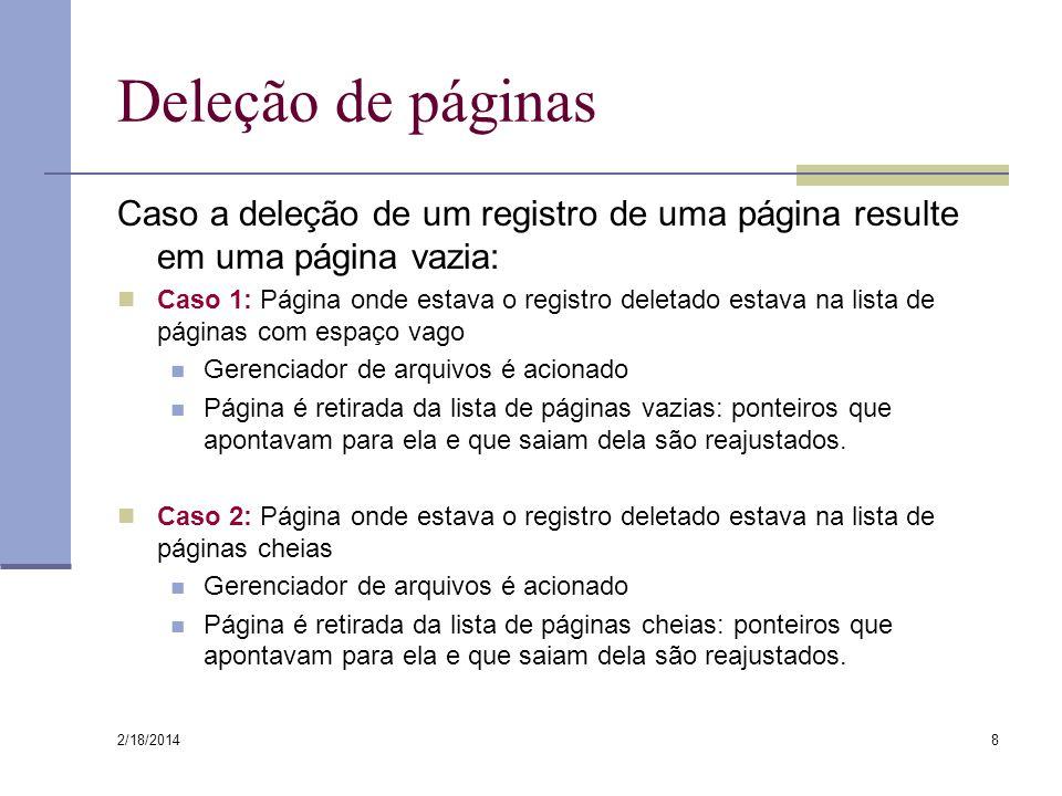 Deleção de páginas Caso a deleção de um registro de uma página resulte em uma página vazia: Caso 1: Página onde estava o registro deletado estava na l