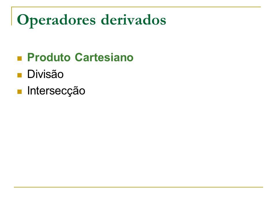 Operadores derivados Produto Cartesiano Divisão Intersecção