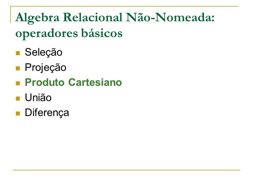 Algebra Relacional Não-Nomeada: operadores básicos Seleção Projeção Produto Cartesiano União Diferença