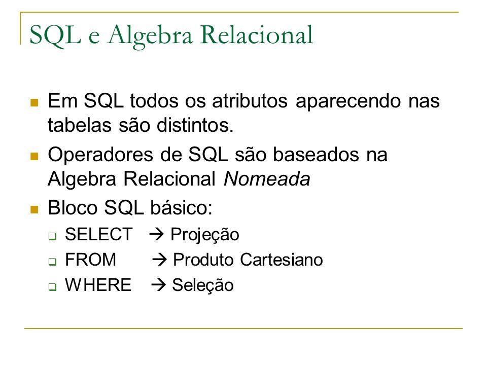 SQL e Algebra Relacional Em SQL todos os atributos aparecendo nas tabelas são distintos. Operadores de SQL são baseados na Algebra Relacional Nomeada