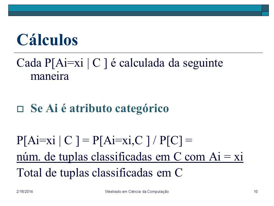 2/18/2014Mestrado em Ciência da Computação10 Cálculos Cada P[Ai=xi | C ] é calculada da seguinte maneira Se Ai é atributo categórico P[Ai=xi | C ] = P