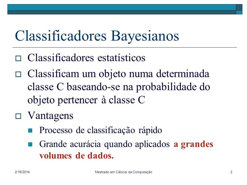 2/18/2014Mestrado em Ciência da Computação3 Classificador Bayesiano Simples Hipótese: atributos não-classe são independentes Valor de um atributo não influencia o valor de outros atributos Exemplo: não são independentes Idade, Profissão, Renda não são independentes.