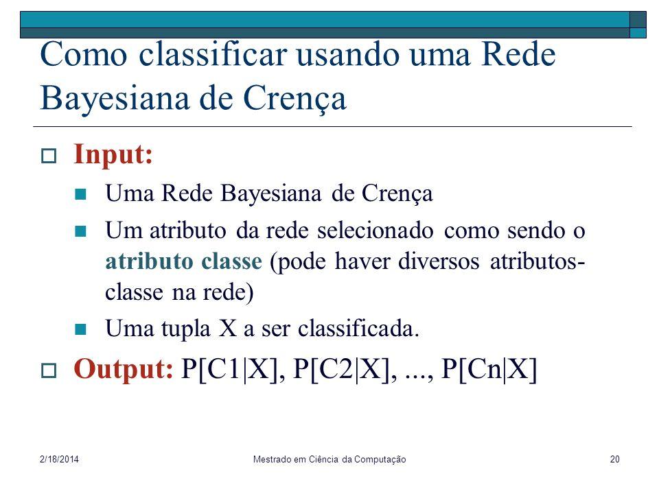 2/18/2014Mestrado em Ciência da Computação20 Como classificar usando uma Rede Bayesiana de Crença Input: Uma Rede Bayesiana de Crença Um atributo da r