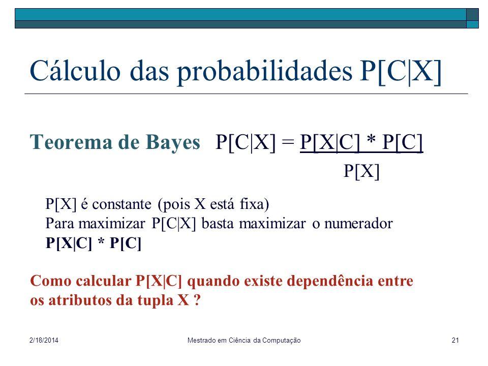 2/18/2014Mestrado em Ciência da Computação21 Cálculo das probabilidades P[C|X] Teorema de Bayes P[C|X] = P[X|C] * P[C] P[X] P[X] é constante (pois X e
