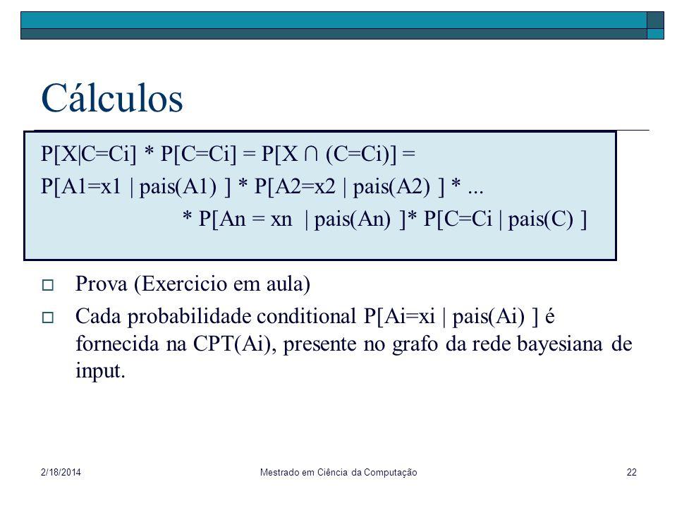 2/18/2014Mestrado em Ciência da Computação22 Cálculos P[X|C=Ci] * P[C=Ci] = P[X (C=Ci)] = P[A1=x1 | pais(A1) ] * P[A2=x2 | pais(A2) ] *... * P[An = xn