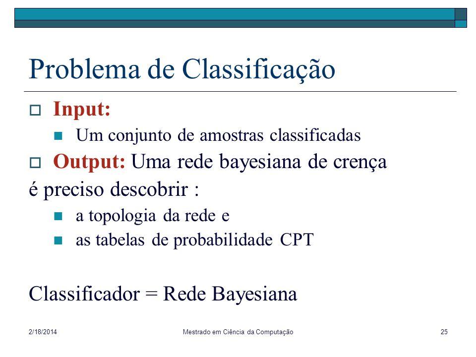 2/18/2014Mestrado em Ciência da Computação25 Problema de Classificação Input: Um conjunto de amostras classificadas Output: Uma rede bayesiana de cren