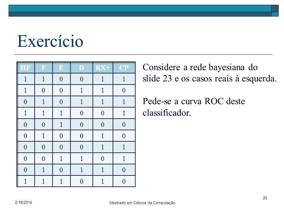 2/18/2014 Mestrado em Ciência da Computação 26 Exercício x Considere a rede bayesiana do slide 23 e os casos reais à esquerda. Pede-se a curva ROC des