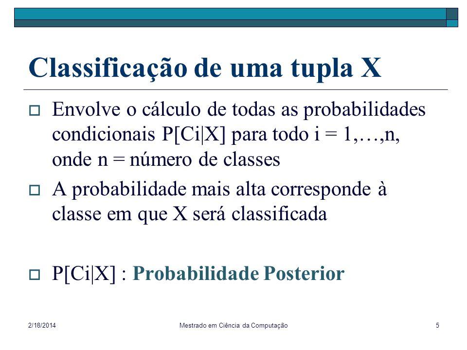 2/18/2014Mestrado em Ciência da Computação5 Classificação de uma tupla X Envolve o cálculo de todas as probabilidades condicionais P[Ci|X] para todo i