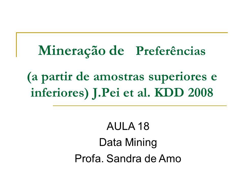 Mineração de Preferências (a partir de amostras superiores e inferiores) J.Pei et al. KDD 2008 AULA 18 Data Mining Profa. Sandra de Amo