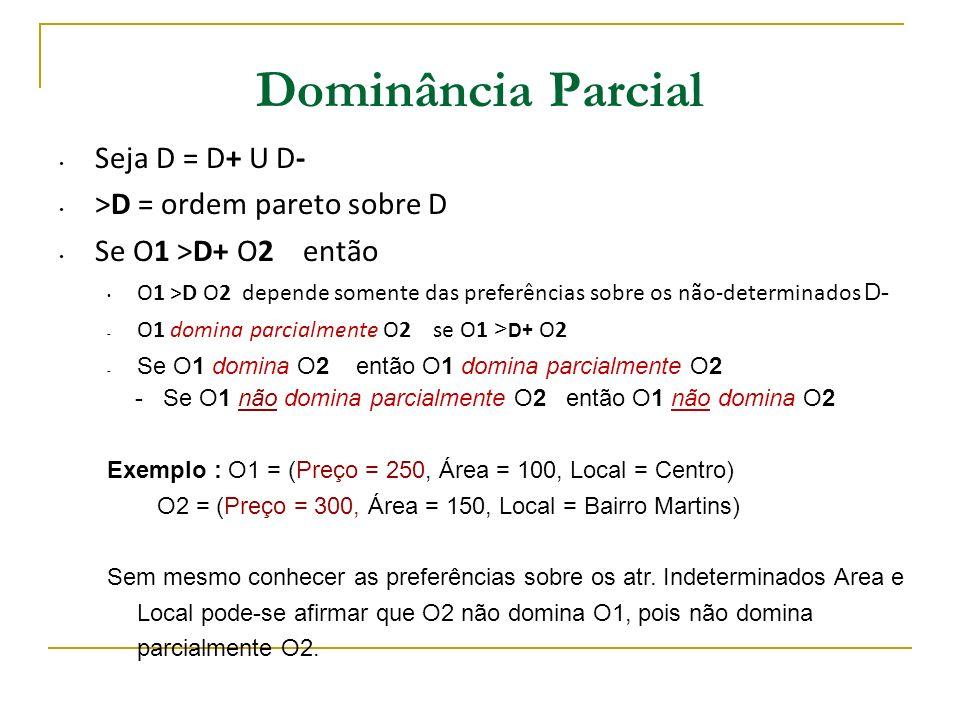 Dominância Parcial Seja D = D+ U D- >D = ordem pareto sobre D Se O1 >D+ O2 então O1 >D O2 depende somente das preferências sobre os não-determinados D