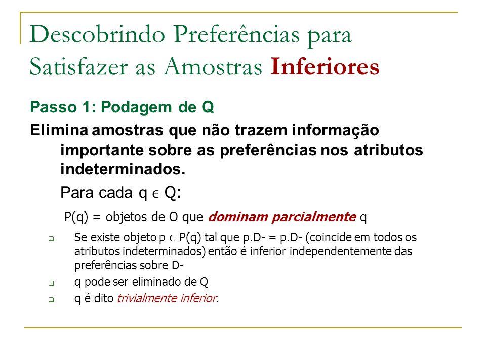 Descobrindo Preferências para Satisfazer as Amostras Inferiores Passo 1: Podagem de Q Elimina amostras que não trazem informação importante sobre as preferências nos atributos indeterminados.