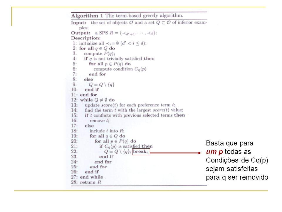 Basta que para um p todas as Condições de Cq(p) sejam satisfeitas para q ser removido